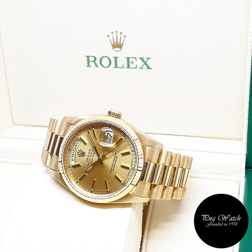 Rolex 36mm 18K Yellow Gold Champagne Indexes Day-Date REF: 18238