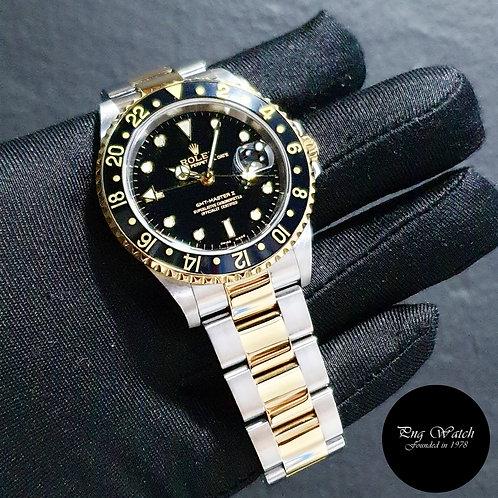 Rolex Oyster 18K Half Gold Black GMT Master 2 REF: 16713 (05)(2)