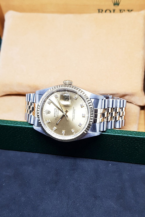 Rolex Oyster Perpetual 18K Half Gold Champagne Diamonds REF: 16233