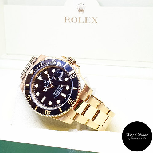 Rolex Oyster Perpetual 18K Yellow Gold Black Submariner Date REF: 116618LN (V)