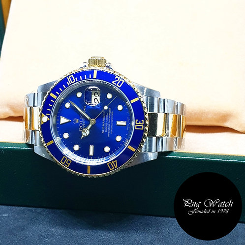 Rolex Oyster Perpetual 18K Half Gold Blue Submariner REF: 16613 (A Series)