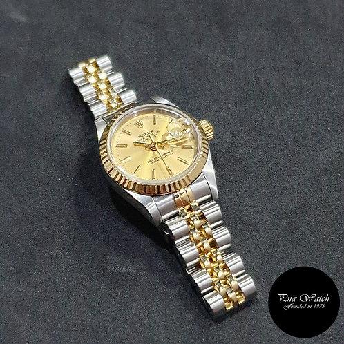 Rolex OP 18K Half Gold 26mm Champagne Indexes Datejust REF: 69173 (2)