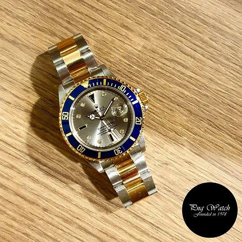 Rolex 18K Half Gold Grey Serti Diamonds Submariner REF: 16613 (2)