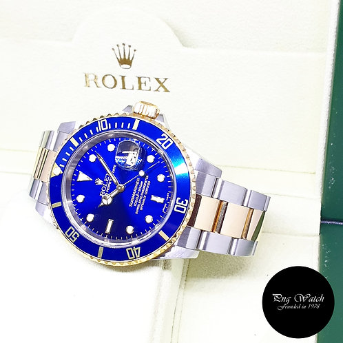 Rolex Oyster Perpetual 18K Half Gold Blue Submariner Date REF: 16613 (F Series)
