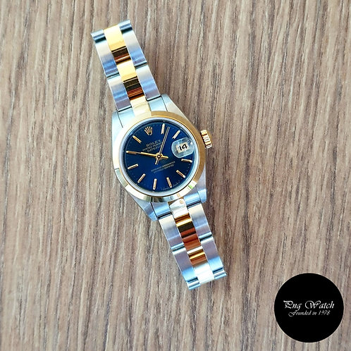 Rolex 18K Half Gold Blue Ladies Datejust REF: 69163 (2),