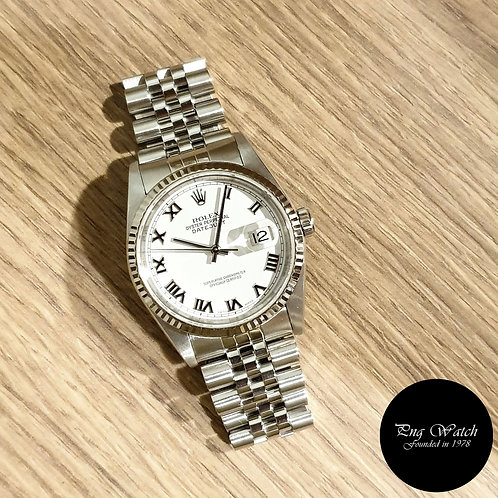 Rolex Oyster Perpetual White Roman Datejust REF: 16234 (2)