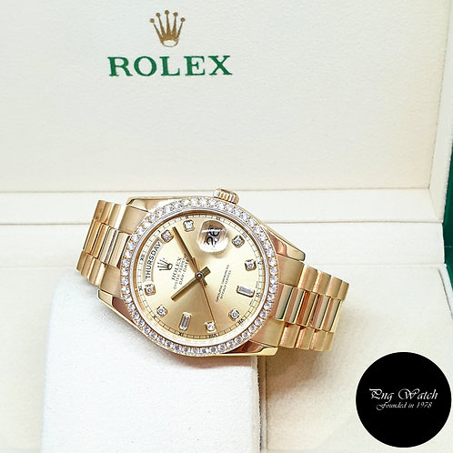 Rolex OP 18K Yellow Gold Champagne Diamond Dial and Bezel Day-Date REF: 118348