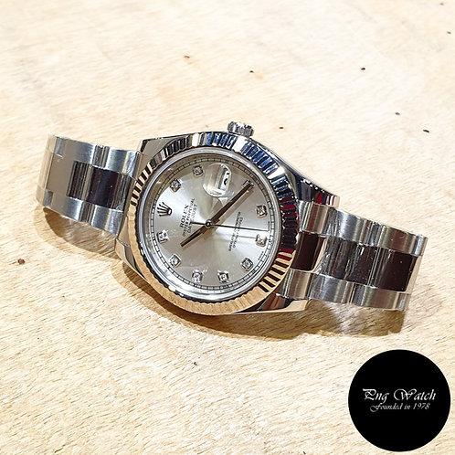 Rolex Oyster Perpetual Silver Diamonds 41mm Datejust II REF: 116334 (G)(2)