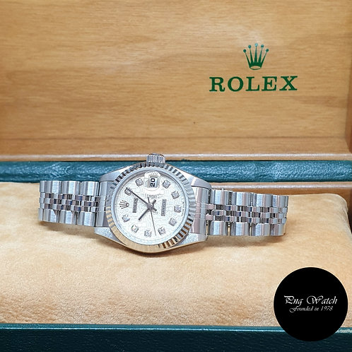 Rolex OP 10PT Big Diamonds Silver Computer Ladies Datejust REF: 69174