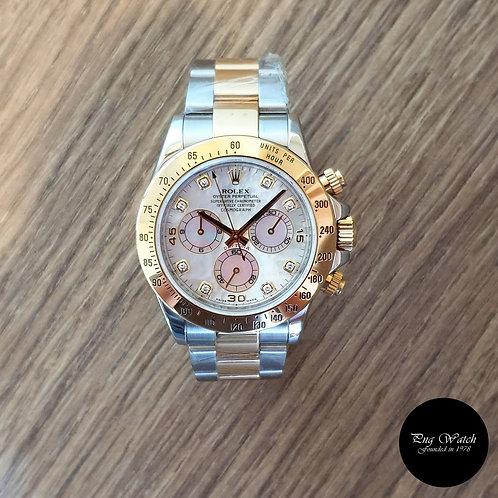 Rolex 18K Half Gold 10PT Diamonds MOP Cosmograph Daytona REF: 116523