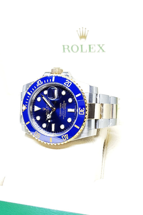 Rolex 18K Half Gold Blue Sunburst Submariner REF: 116613LB