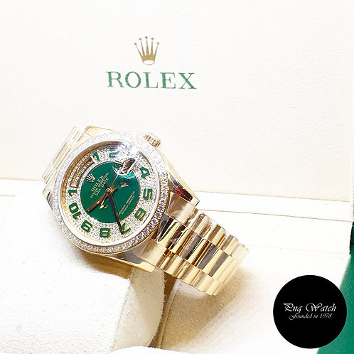 Rolex Perpetual 18K Yellow Gold Green Enamel Pave Diamond Daydate REF: 118348