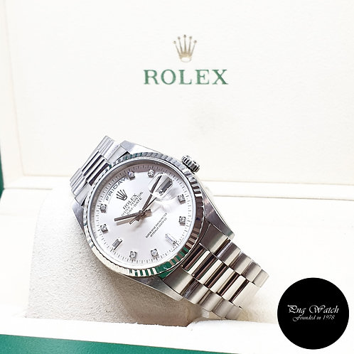 Rolex OP 18K White Gold Silver Vignette Diamonds Day-Date REF: 18239