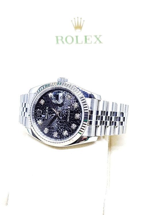 Rolex Oyster Perpetual Black Computer 10PT Diamonds Datejust REF: 116234