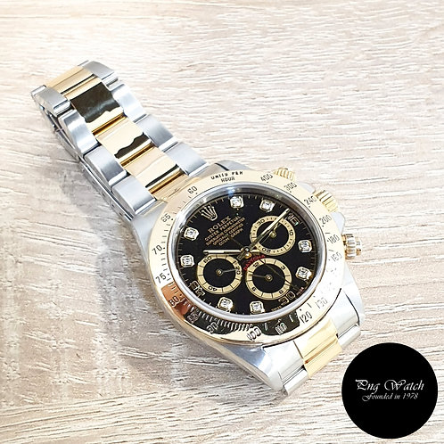 Rolex 18K Half Yellow Gold Zenith Movement Black Diamonds Daytona REF: 16523 (2)