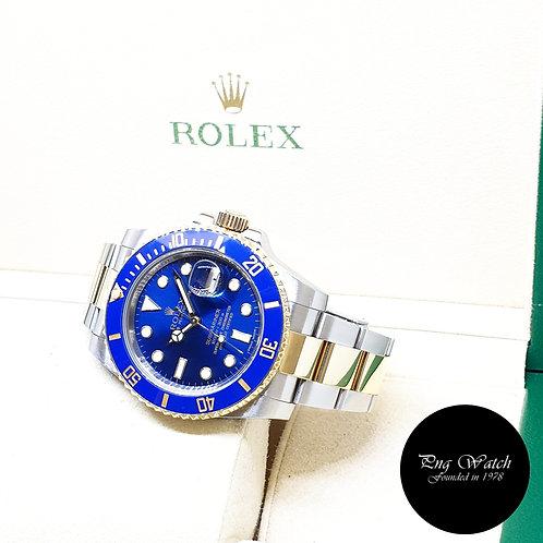 Rolex Ceramic 18K Half Yellow Gold Sunburst Blue Submariner REF: 116613LB (2013)