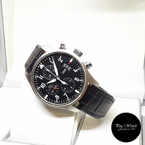 IWC 43mm Black Fliegeruhr Chronograph Watch REF: 3777-01