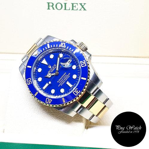 Rolex OP 18K Half Gold Ceramic Matte Blue Submariner REF: 116613LB (V Series)