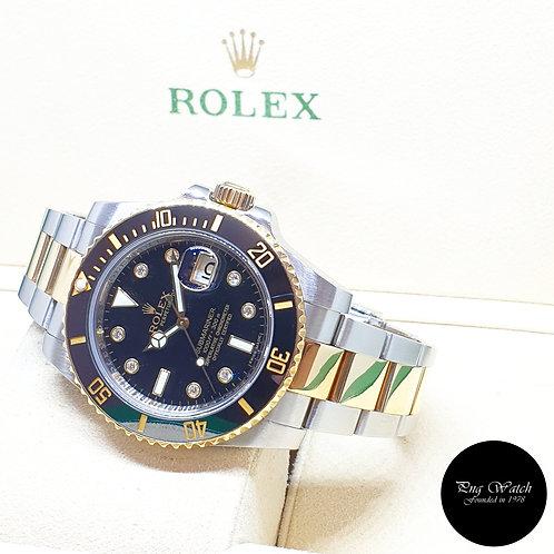 Rolex Ceramic 18K Half Gold Black Serti Diamonds Submariner Date REF: 116613LN