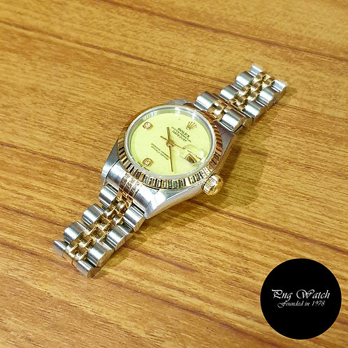Rolex  18K Half Gold Green Coral 26mm Ladies Diamonds Datejust (2)