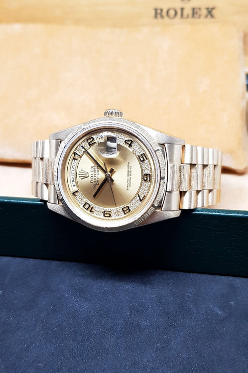 """Rolex 18K Solid Yellow Gold """"Milli Yard"""" Bard Finished Day-Date REF: 18248"""