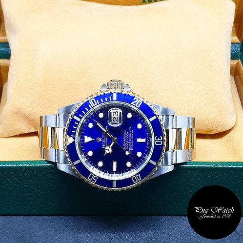 Rolex Oyster Perpetual 18K Half Gold Tritium Blue Submariner Date REF: 16613 (T)