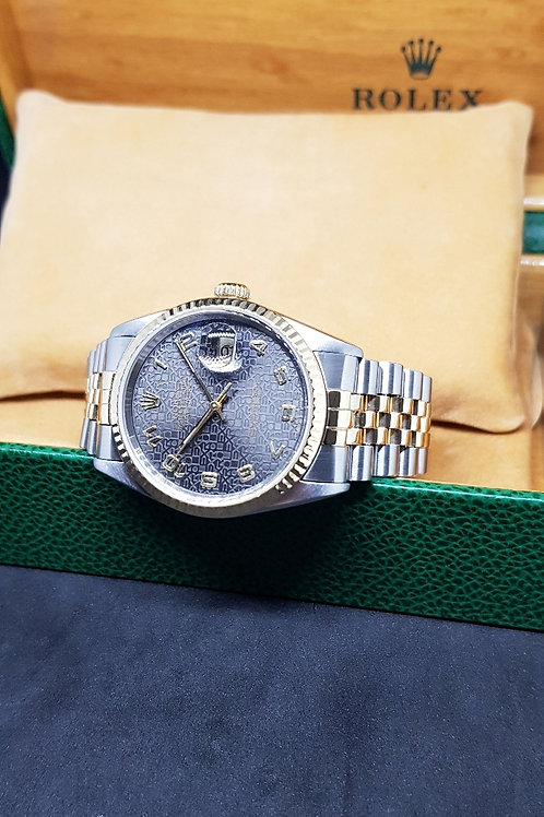 Rolex Oyster Perpetual 18K Half Gold Grey Jubilee Datejust REF: 16233