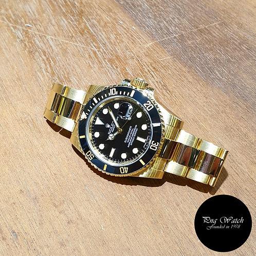 Rolex 18K Yellow Gold Black Submariner Date REF: 116618LN (V)(2)