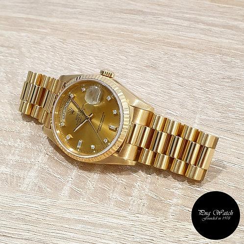 Rolex OP 18K Yellow Gold Champagne Vignette Diamonds Day-Date REF: 18238 (2)