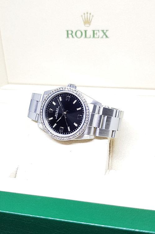 Rolex 31mm Black Oyster Perpetual with Custom Diamond Bezel REF: 77080