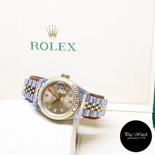 Rolex 18K Half Gold 26mm Ladies Champagne Diamonds Datejust REF : 69173