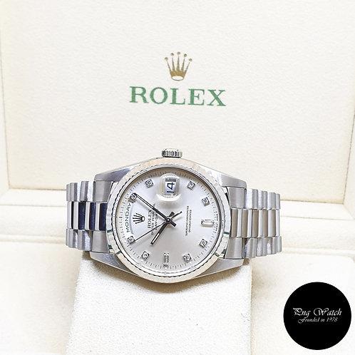 Rolex 18K White Gold Silver Vignette Diamonds Day-Date REF: 18239