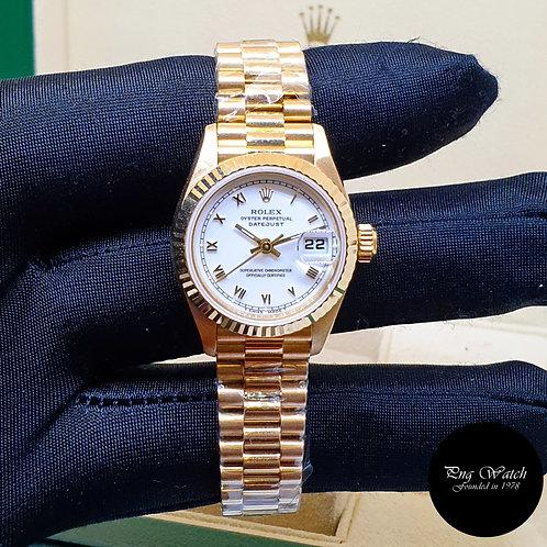 Rolex 26mm 18K Yellow Gold White Roman Datejust REF: 69178 (1998)(2)