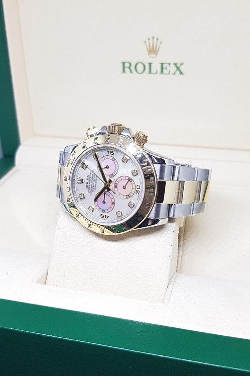 Rolex Oyster Perpetual 18K Half Gold White MOP Diamonds Daytona REF: 116523