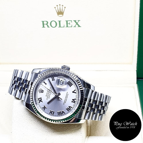 Rolex Oyster Perpetual Silver Roman Datejust REF: 116234