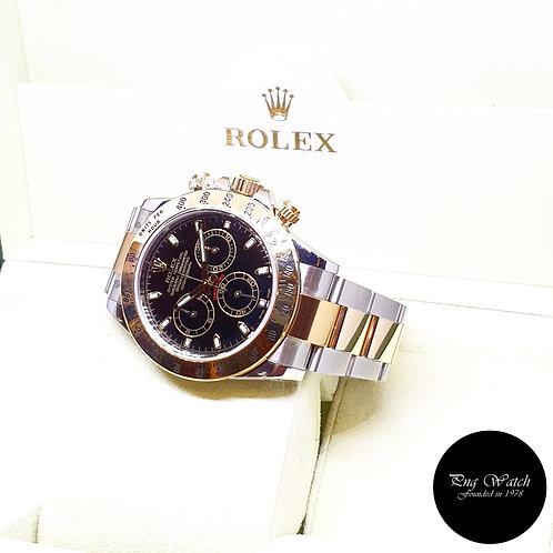 Rolex Oyster Perpetual 18K Half Gold Black Cosmograph Daytona REF: 116523 (AN)