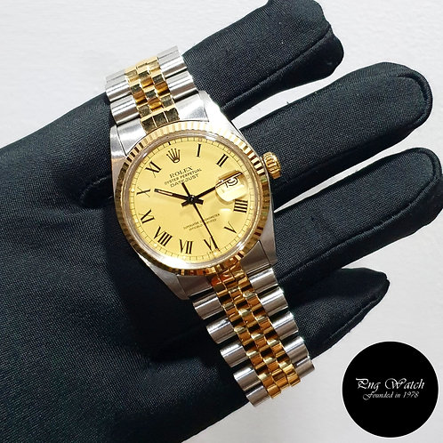 """Rolex Oyster Perpetual 18K Half Gold Datejust """"Buckley Dial"""" REF: 16013 (83)(2)"""