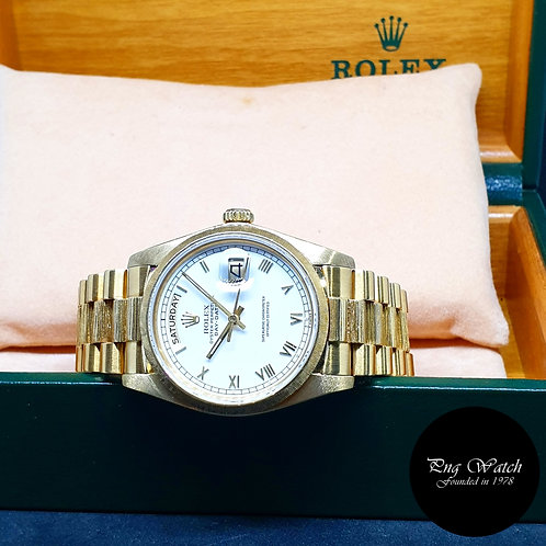 Rolex Oyster Perpetual 18K Yellow Gold White Roman Day-Date REF: 18078