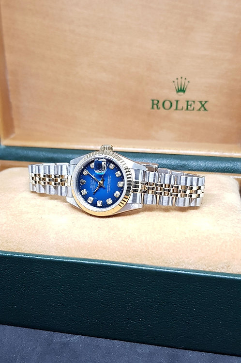 Rolex Oyster Perpetual 18K Half Gold 2 Tone Blue Diamonds Datejust REF: 69173