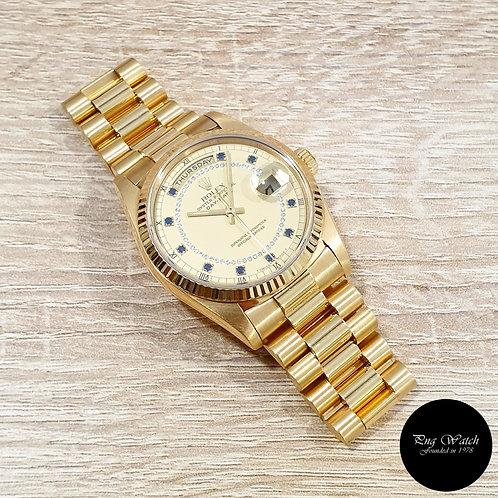 Rolex OP 18K YG Champagne Sapphire and String Diamonds Daydate REF: 18238 (2)