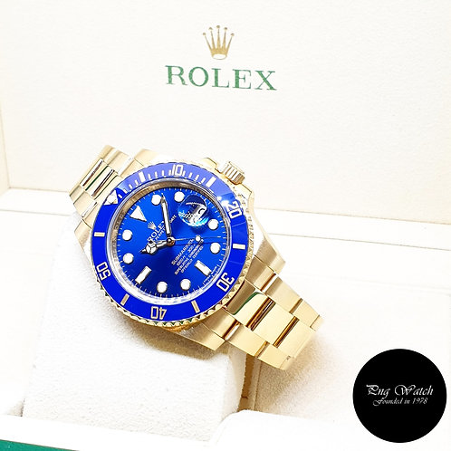 Rolex Oyster Perpetual Ceramic 18K Yellow Gold Blue Submariner Date REF: 116618