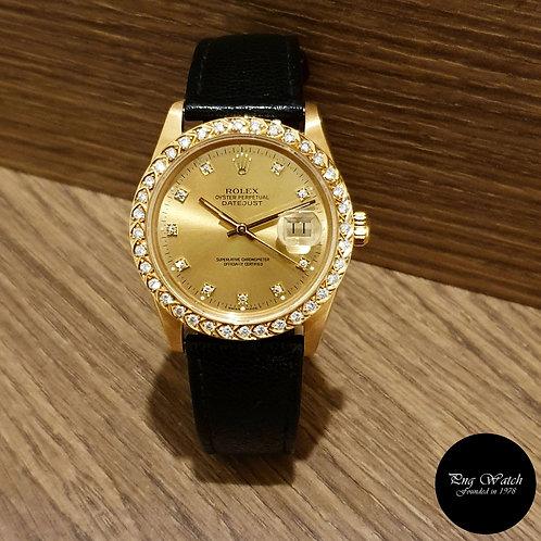 Rolex 18K Solid Yellow Gold Champagne Diamonds Datejust REF: 16018 (2)