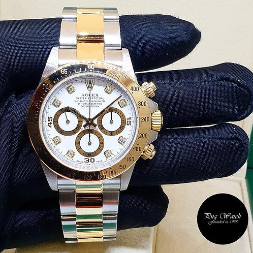 Rolex 18K Half Yellow Gold Zenith Mvt White Diamonds Daytona REF: 16523 (2)