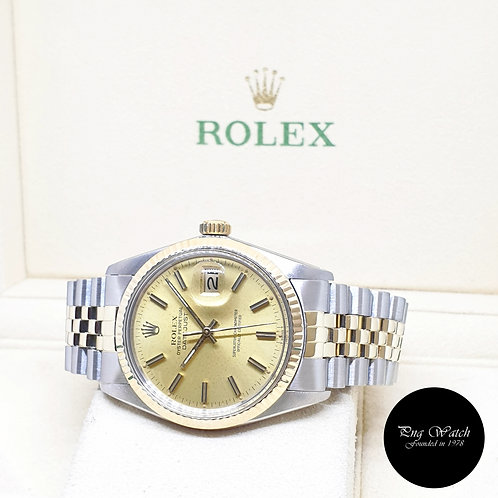 Rolex Oyster Perpetual 14K Half Gold Champagne Indexes Datejust REF: 16013