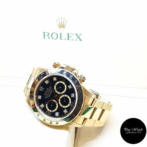 Rolex 18K Yellow Gold Zenith Mvt Black Diamonds Cosmograph Daytona REF: 16528