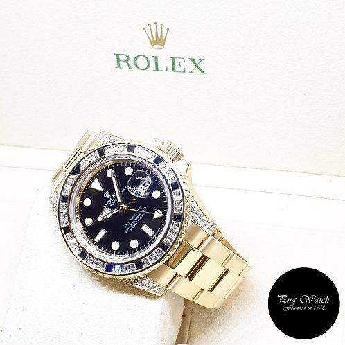 Rolex 18K Yellow Gold Factory Diamonds Black GMT Master 2 REF: 116758SANR (M)