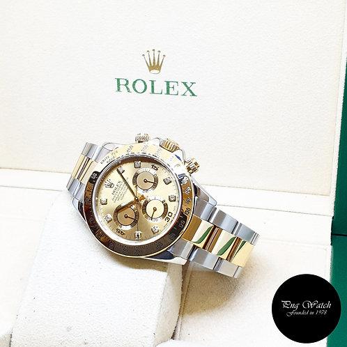 Rolex Oyster Perpetual 18K Half Gold Champagne Diamonds Daytona REF: 116523