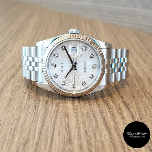 Rolex Oyster Perpetual 10PT Diamonds Silver Computer Datejust REF: 116234 (2)