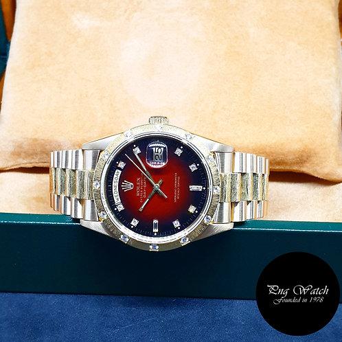 Rolex OP 18K YG Bark Finished Red Degrade Diamonds Day-Date REF: 18308