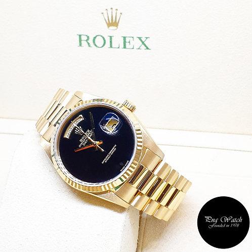 "Rolex Perpetual 18K Yellow Gold Black ""OYNX"" Stone Day-Date REF: 18238 (E)"